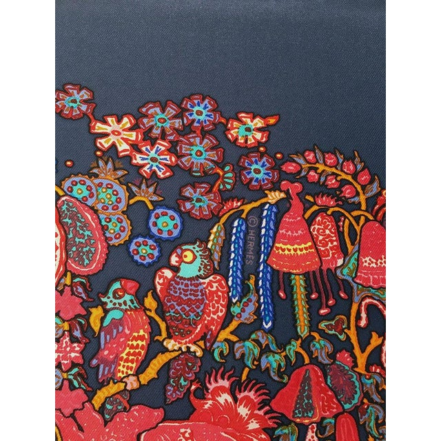 2000 - 2009 Hermes Legende Moghole Silk Scarf in Navy Blue For Sale - Image 5 of 7