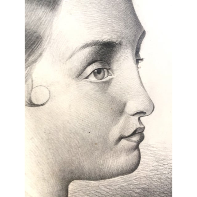 Mid 19th Century Antique French Master Drawing of a Woman, 1847 For Sale - Image 5 of 6