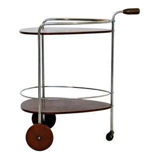 Art Deco Modern Chrome & Wood 2-Tier Bar Serving Server Cart Treitel Gratz 1940s For Sale