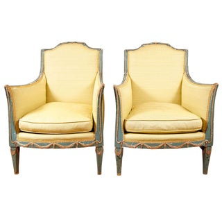 Pair of Green Italian Neoclassical Style Painted and Parcel-Gilt Armchairs For Sale
