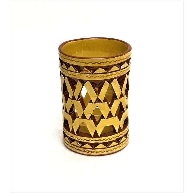 Boho Chic Moroccan Hand Painted Ceramic Tealight Cup Holder For Sale - Image 3 of 3