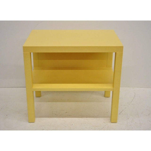 Decca yellow grasscloth raffia wrapped bedside end table/nightstand. Price is per table. Currently 11 available. Item...