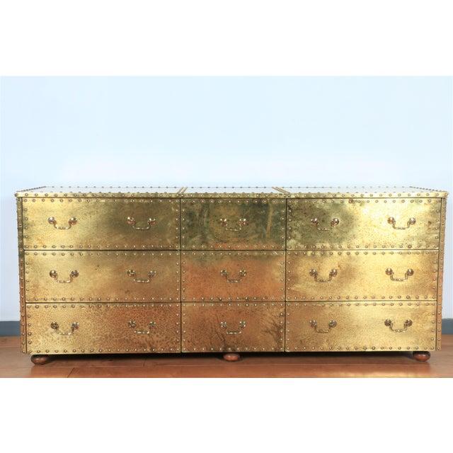 1970s Vintage Brass Cabinet Styled After Sarreid Ltd For Sale - Image 5 of 5