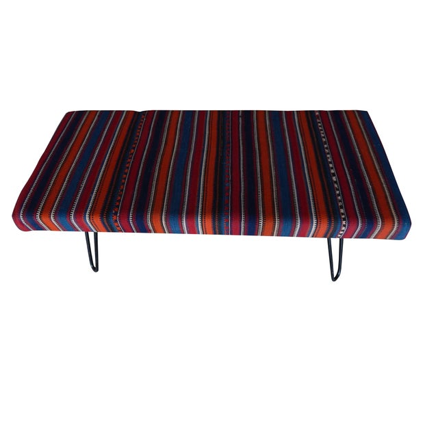 Kilim Bench With Hairpin Legs, Vintage Kilim Rug Ottoman, Kilim Upholstered Bench With Turkish Kilim Rug For Sale In Dallas - Image 6 of 10