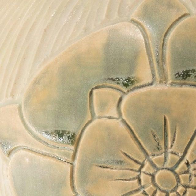 English Rose Arts & Crafts Design Porcelain Pottery Vase For Sale - Image 4 of 6