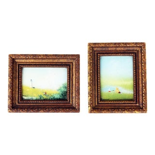 Parthesius Signed Framed Enamel on Copper Painting - A Pair