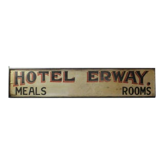 "Antique Double-Sided Hand-Painted Wood ""Hotel Erway"" Board For Sale"