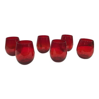 Kenneth Ludwig Red Bubble Double Old Fashion Glasses - Set of 6