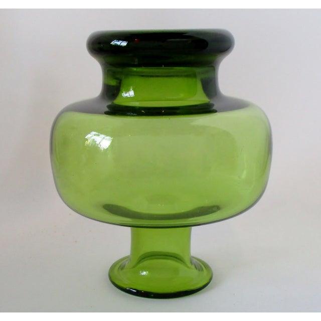 Per Lutken Holmegaard Holmegaard Green Glass Vase For Sale - Image 4 of 6
