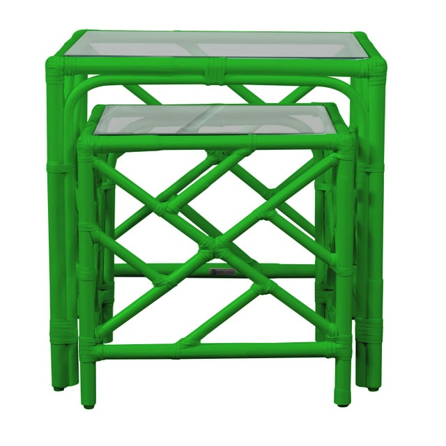 Chippendale Chippendale Nesting Tables - Bright Green For Sale - Image 3 of 6