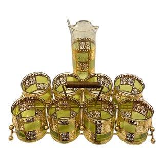 MCM Culver Ltd. Prado Green and 22-Karat Gold Embellished Cocktail Set For Sale