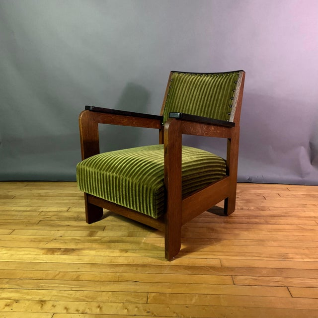 Oak Pair 1940s Wenge Wood Armchairs, Corduroy & Rosewood For Sale - Image 7 of 11