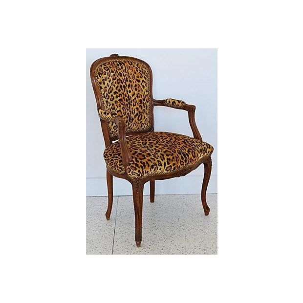 Brass 1950s Leopard Velvet Carved Armchair For Sale - Image 7 of 12