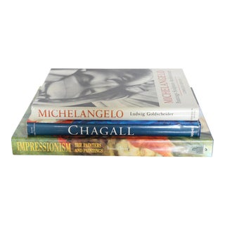 Set 3 Masterpiece Artists Paintings Coffee Table Books Michelangelo Chagall Monet Renoir For Sale