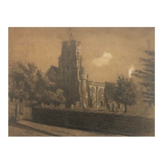 English Landscape With Church by Benjamin Harnett For Sale