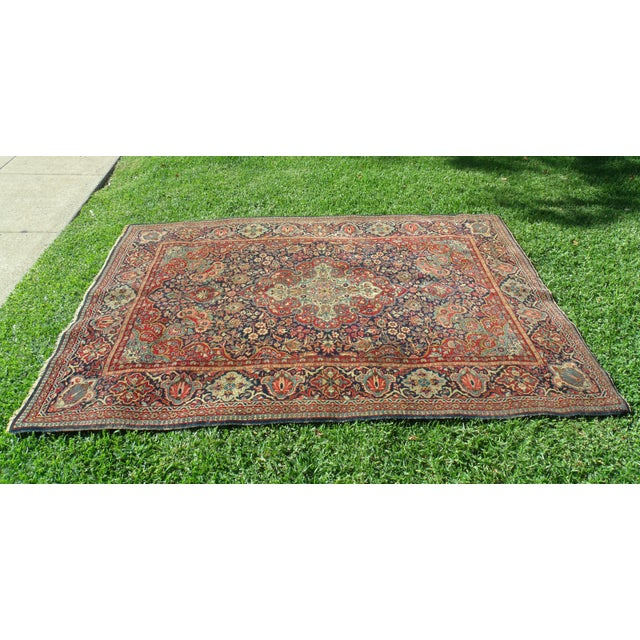 Red Antique Persian Oriental Handwoven Rug - 4'5'' X 6'6'' For Sale - Image 8 of 11