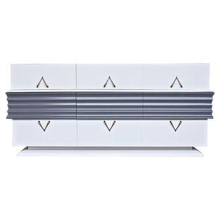 White & Gray Lacquered Lowboy Dresser For Sale