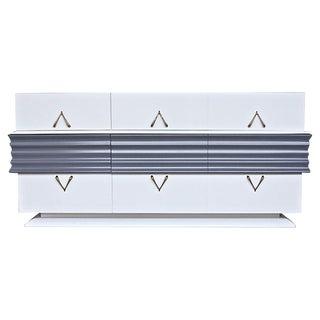 White & Gray Lacquered Lowboy Dresser