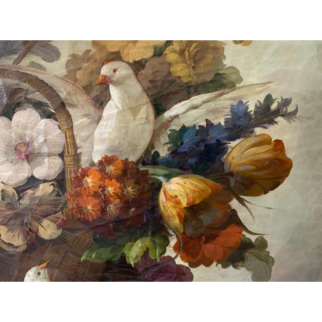 1970s Still Life of Flower and Doves in Amazing Oak Frame For Sale - Image 5 of 13