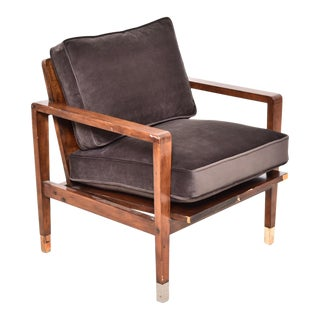 Mid-Century Modern Chocolate Sleek Brown Velvet Lounge Chair For Sale