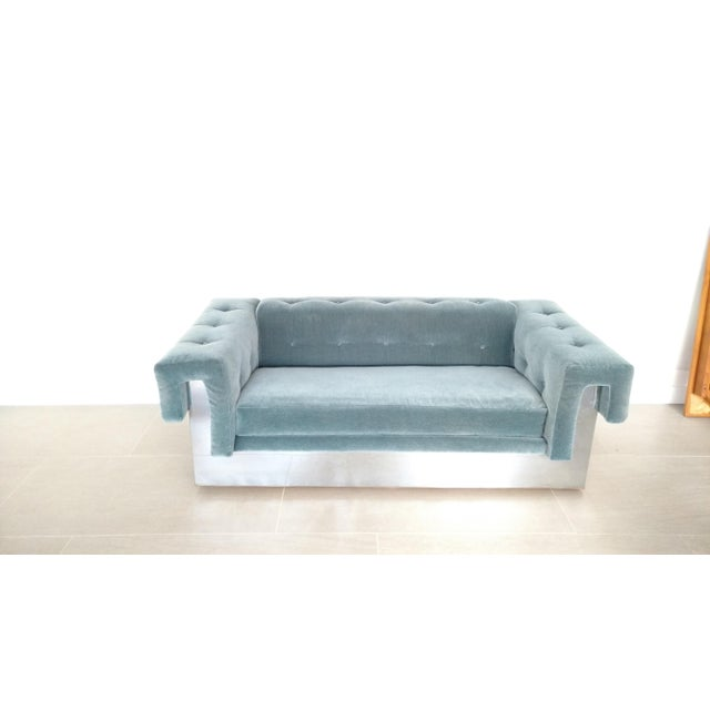 This is one glamorous sofa. The peacock colored mohair velvet shows a lot of texture and sheen. The tufted detail adds a...