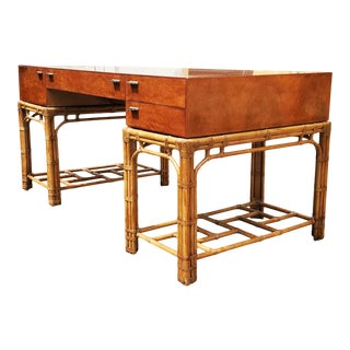 An Henredon Hollywood Regency Bamboo Desk For Sale