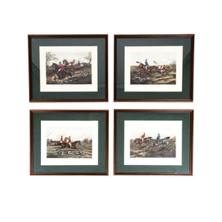 Late 19th Century Set Four Equestrian Engravings Forest Hunting Scenes For Sale