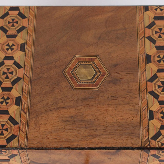 English 19th C. English Box With Exquisite Marquetry For Sale - Image 3 of 11
