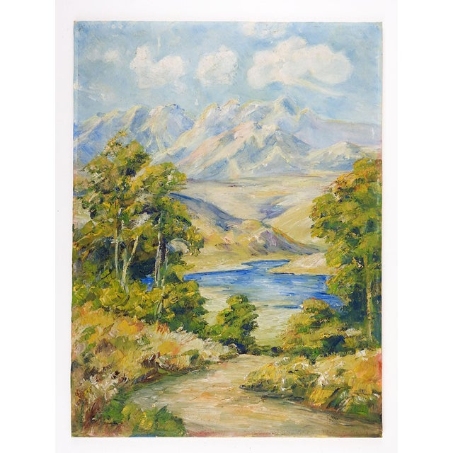 Oil on canvas board of mountain and lake landscape. Unsigned, unframed, edge wear.
