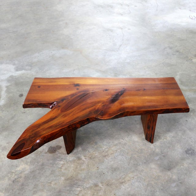 Live Edge Solid Slab Coffee Table or Bench in the Style of George Nakashima For Sale - Image 13 of 13