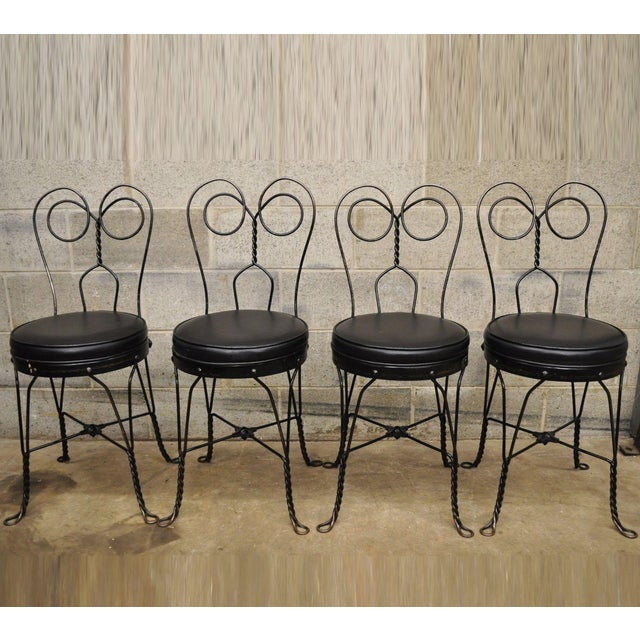 Antique Twisted Heart Back Wrought Iron Ice Cream Parlor Dining Chairs - Set of 4 For Sale - Image 11 of 11