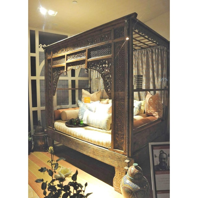 Antique Balinese Indian Boho Chic Teakwood Canopy Daybed in Elizabeth Eakins Fabrics For Sale - Image 10 of 13