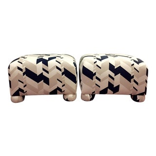 1980s Geometric Upholstered Ball Foot Ottomans - a Pair