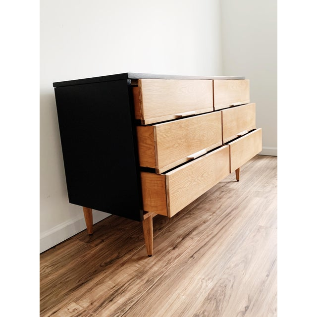 1970s Mid Century Modern Harmony House Black + Natural Wood Dresser For Sale - Image 5 of 11