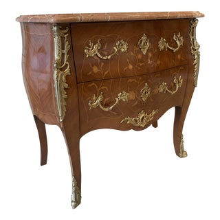 Mid 20th Century Louis XVI Style Commode with Marble Top For Sale