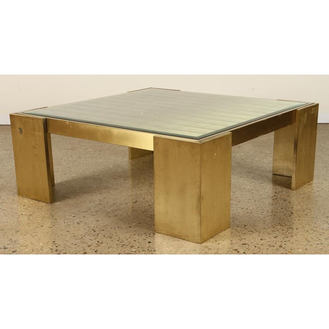 1970s Square Bronze and Glass Coffee Table For Sale - Image 5 of 5