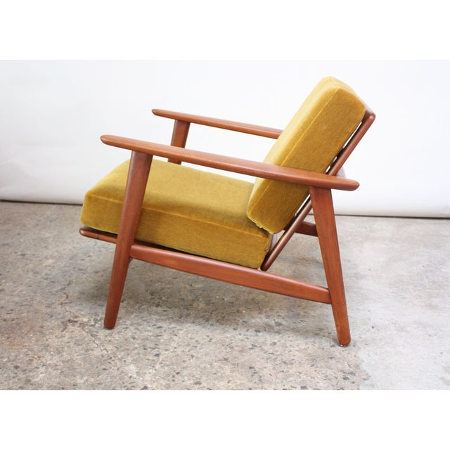 1960s Danish Modern Reclining Lounge Chair in Ochre Mohair For Sale - Image 5 of 13