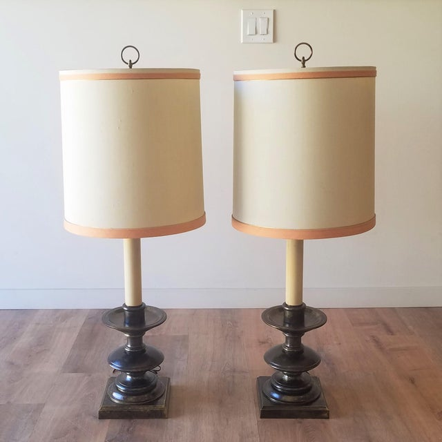 Frederick Cooper Mid 20th Century Bronze Table Lamps With Original Shades - a Pair For Sale - Image 12 of 12