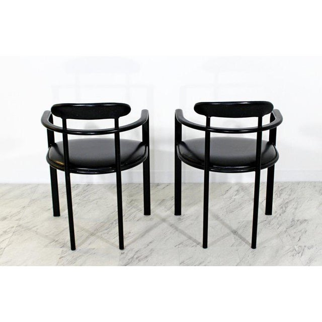 Black 1970s Mid-Century Modern Memphis Loewenstein Black Leather Dining Armchairs - Set of 6 For Sale - Image 8 of 10