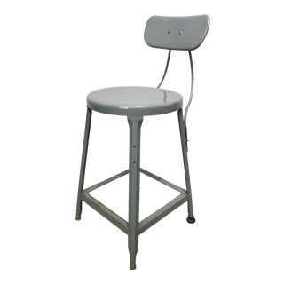Vintage Industrial Metal Stool For Sale
