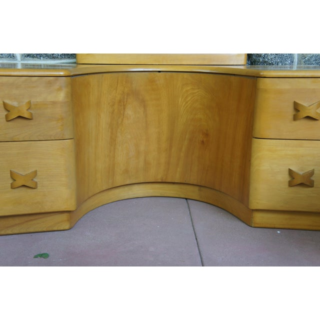 Mid-Century Modern Heywood Wakefield Rio Champagne Maple Vanity & Stool For Sale - Image 3 of 11