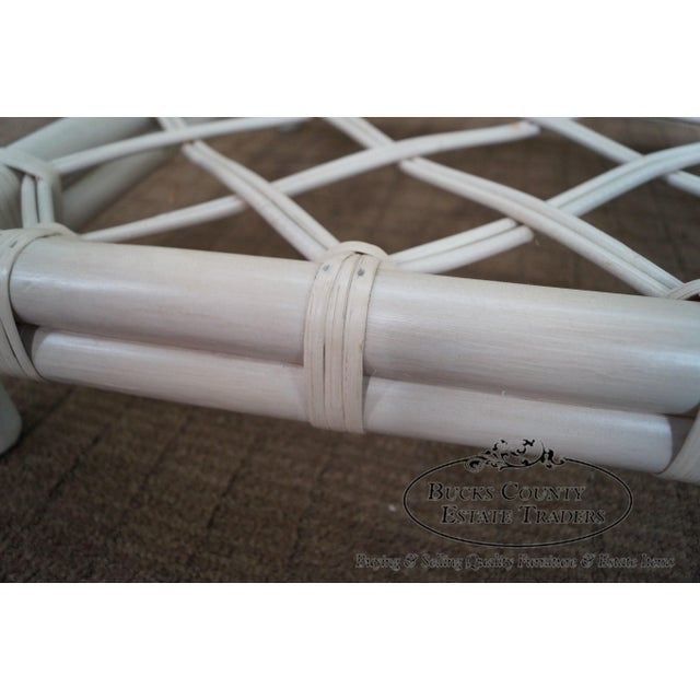 Ficks Reed Painted Rattan Glass Top End Table - Image 7 of 11