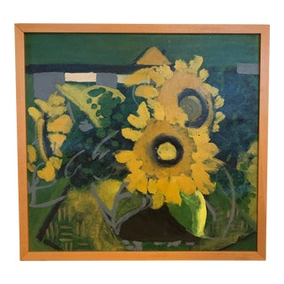 Vintage Abstract Sunflowers Acrylic Painting For Sale
