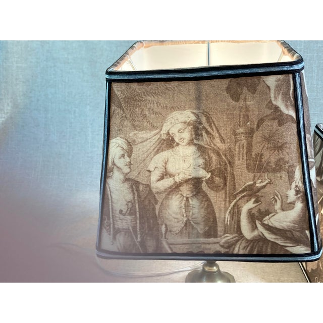 Boho Chic Sepia Toile Lampshades - a Pair For Sale - Image 3 of 7