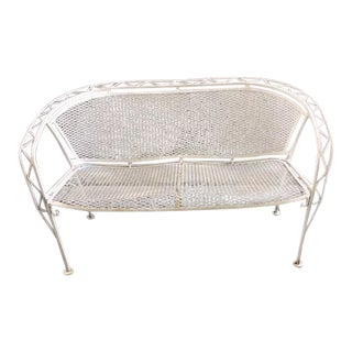 1950s Brutalist Salterini White Wrought Iron Garden Bench