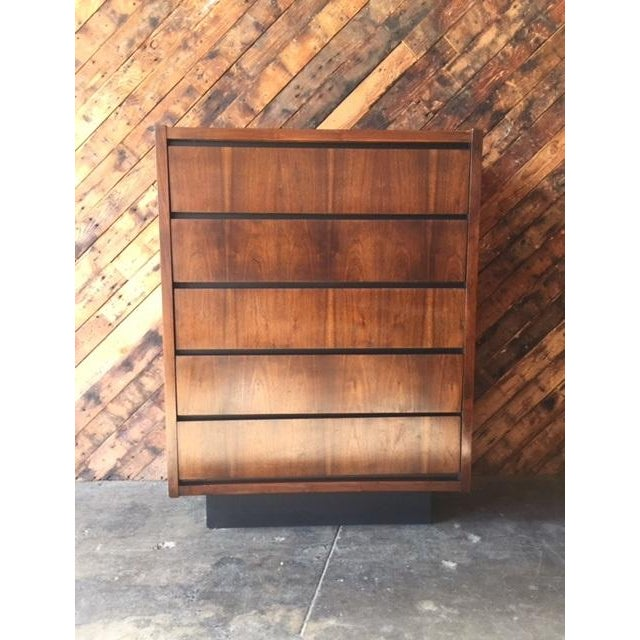 1970s Lane Walnut Highboy - Image 5 of 6