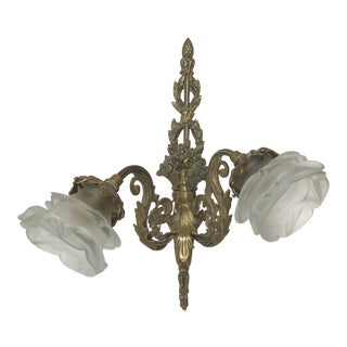 1920s Vintage Brass Wall Sconce For Sale
