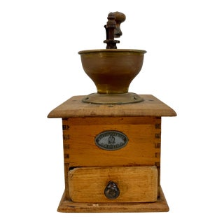 Vintage Wood and Metal Coffee Grinder For Sale