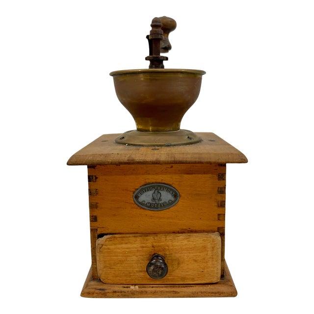 Vintage Wood and Metal Coffee Grinder For Sale