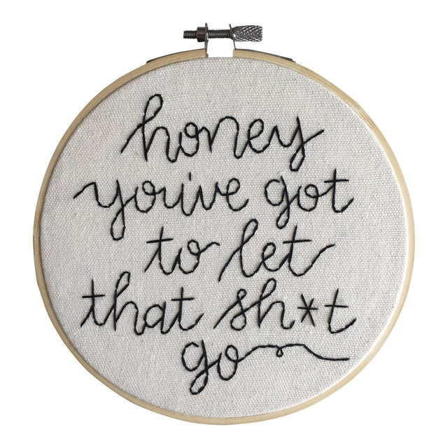 Made to Order Minimalist Sage Advice Embroidery Textile Art For Sale